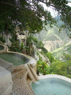 Hot water pools at Grutas De Tolantongo in Hidalgo, Mexico