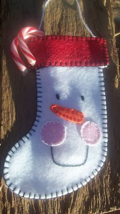 Felt Snowman Stocking Ornament by LLHDesigns on Etsy Christmas Ornaments To Make, Christmas Sewing, Felt Ornaments, Christmas Snowman, Christmas Stockings, Christmas Decorations, Stocking Ornaments, Felt Snowman, Snowman Crafts