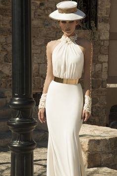 Gorgeous Prom Dress -White A-Line High Neck Long Sleeves with Gold Sash