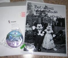 If you send an invite to Disneyland you will receive a signed Mickey and Minnie photo and button!    address:  Micky & Minnie  The Walt Disney Company  500 South Buena Vista Street  Burbank, California 91521
