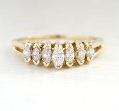 Estate Diamond 7 Stone Anniversary Engagement Ring by Round Solitaire Engagement Ring, Diamond Solitaire Rings, Stargazer Lily Wedding, Ring Enhancer, Anniversary Rings, Wedding Anniversary, Marquise Diamond, Vintage Diamond, Wedding Bands