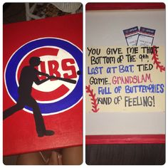 - I bought my boyfriend Cubs tickets for his birthday. So I made this canvas and p… I bought my boyfriend Cubs tickets for his birthday. So I made this canvas and put the tickets in the back with a cute phrase! Great way to give him a great surprise! Surprise Boyfriend, Presents For Boyfriend, Presents For Him, Boyfriend Birthday, Boyfriend Gifts, Surprise Gifts For Him, Diy Gifts For Him, Valentines Gifts For Him, Boyfriend Canvas