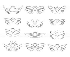 Vector sketch angel wings in cartoon style isolated on white background. Cartoon wings element line illustration Vector sketch angel wings in cartoon style isolated on white background. Cartoon wings element line illustration Baby Tattoos, Little Tattoos, Mini Tattoos, Body Art Tattoos, Tatoos, Sleeve Tattoos, Dove Tattoos, Wing Tattoos On Wrist, Small Wing Tattoos