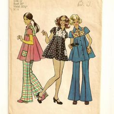 A Yoked Swing Smock, Mini Smock-Dress, Bikini Pants, and Hip-Hugger Bell-Bottom Pants Pattern, Vintage 1972