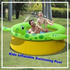 Kids Inflatable Swimming Pool Garden Spray Pool Turtle Shape Outdoor Paddling Uk