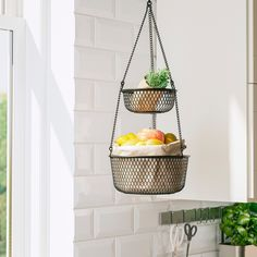 VADHOLMA Hengende oppbevaring, svart/nett, 25x63 cm - IKEA Produce Baskets, Produce Storage, Fruit Storage, Utensil Storage, Storage Shelves, Shelving, Diy Vegetable Storage, Hanging Fruit Baskets, Baskets On Wall