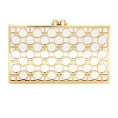 Charlotte Olympia - Reflection Pandora box clutch - A mirrored clutch is our favourite way to make a sparkling statement at parties and this 'Reflection Pandora' from Charlotte Olympia is perfection. Gold-tone metal work sits above a silver-tone mirrored metal base for contrasting results. The glamorous piece is finished with the label's signature crystal-embellished spider clasp to lock in the luxe. seen @ www.mytheresa.com