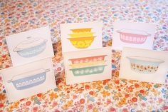 NEW - Set of 6 - Vintage Pyrex Note Cards - The Flowers - Blank Inside