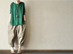 Khaki-- Lovely Loose Leisure Cotton Pants Casual Wear Turnip Pants Christmas Gift  Women Max Pants - Women Clothing -5colours on Etsy, $49.00