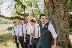 Groomsmen pose | rustic wedding | suspenders | gray | Rudolph, WI