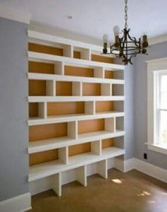 Wall of shelves. Woodwork