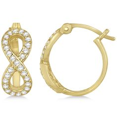 Shop for Gold Infinity Shaped Hinged Hoop Diamond Earrings. Get free delivery at Overstock - Your Online Jewelry Destination! Infinity Earrings, Diamond Hoop Earrings, Rose Gold Earrings, Diamond Jewelry, Fine Jewelry, Jewlery, Yellow, Polyvore, Style