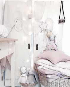 From up to down: mini camera, fairy wings, dusty pink nana swaddle (on the left), lovely star wand, dusty pink star cushion, futons, big and small rattan basket, all by Numero74! #numero74 #kidsdecor #kidsroom #kidsroomideas #girlroom #girlroomideas