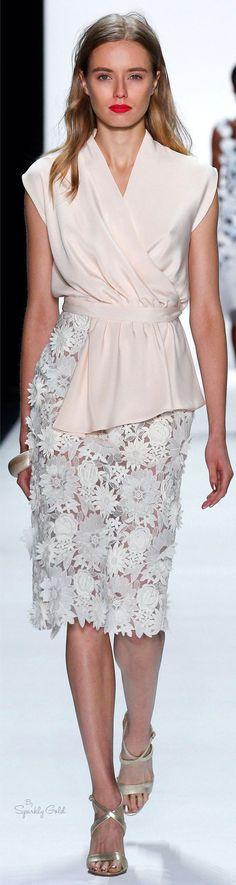 @roressclothes clothing ideas #women fashion white lace skirt blush blouse Badgley Mischka Spring 2016: