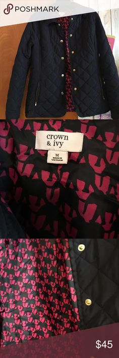 NWOT Crown and Ivy quilted jacket!! Beautiful navy quilted jacket with pretty pink detail on the lining!! Very warm and comfortable!! Worn once!! crown and ivy Jackets & Coats Utility Jackets
