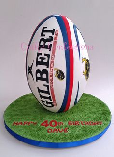 Full size rugby ball cake tall) made from vanilla sponge and Italian meringue buttercream for a birthday Rugby League Ball, Rugby Cake, Sports Themed Cakes, Sport Cakes, Amazing Wedding Cakes, Cake Decorating Supplies, Cakes For Men, Ballon, Celebration Cakes