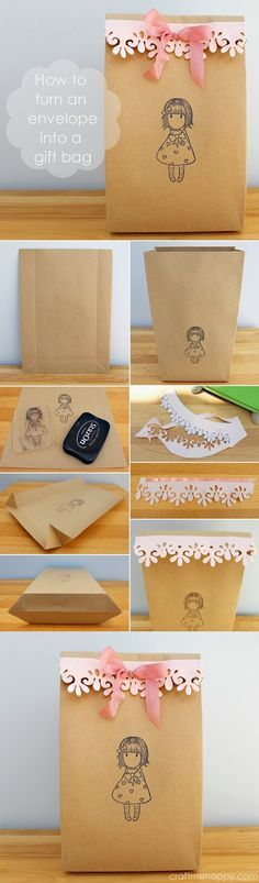 How to turn an envelope into a gift bag by Craft me Happy. With a few simple folds and craft accessories, turn and A4 or US letter envelope into a pretty party bag.