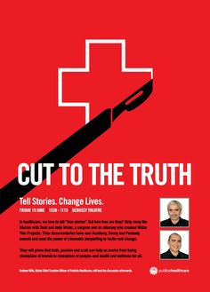 Cut to the truth: Tell stories, change lives Hosted by Publicis Healthcare Friday 19 June - Debussy Foyer awards Lions International, International Festival, Creative Advertising, Advertising Poster, Health Talk, Inspire Others, Cannes, Content Marketing, To Tell