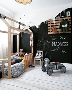 Cool boys room with Black Wall Cool Boys Room, Kids Room Art, Girl Room, Kids Bedroom, Futon Bunk Bed, Shared Rooms, Black Walls, Baby Room Decor, Room Themes