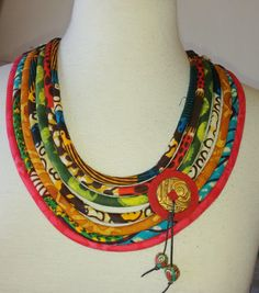 African Fabric Cord Necklace  clay dangle with por paintedthreads2