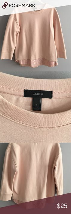J CREW sweatshirt w/sequin trim Like new. Baby pink. Sequin trim at bottom hem. 3/4 length arms. Crew neck. J. Crew Tops Sweatshirts & Hoodies