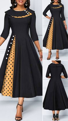 Button Detail Polka Dot Print Dress - New Site Latest African Fashion Dresses, African Dresses For Women, African Print Fashion, Women's Fashion Dresses, Dress Outfits, Scene Outfits, African Fashion Designers, Elegant Dresses For Women, Stylish Dress Designs