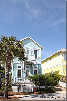 The pastel colored Carillon beach cottages in the Florida panhandle.  #Carillon #beachcottages