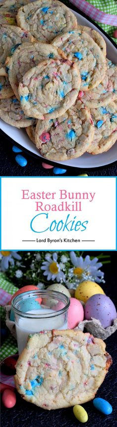 Easter Bunny Roadkill Cookies - A not-so-perfect chewy cookie with crispy edges; filled with chocolate malted balls, this Easter Bunny Roadkill Cookie makes it look like the bunny has been run over by a truck! Easy Cookie Recipes, Easter Recipes, Brownie Recipes, Baking Recipes, Holiday Recipes, Mini Desserts, Easy Desserts, Delicious Desserts, Dessert Recipes