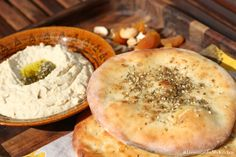 Lebanese flat-bread with Zaatar - Perfect of dip in hummus! And so easy to make!