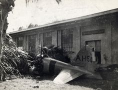 Wreckage of the first Japanese plane shot down during the attack on Pearl Harbor on December 7, 1941. (U.S. Air Force photo)