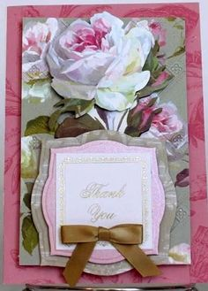 Set Of 3 Handmade Thank You Greeting Cards Victorian Vintage Floral Anna  Griffin