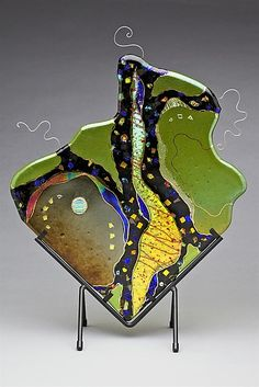 """Diamond in Lime,""  Art Glass Sculpture Created by Karen Ehart"