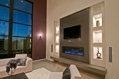 SYNERGY, Great Room - modern - family room - portland - dC Fine Homes & Interior. SYNERGY, Great Room - modern - family room - portland - dC Fine Homes & Interior. SYNERGY, Great Room - modern - family room - portland - dC Fine Homes & Interiors Tv Above Fireplace, Linear Fireplace, Fall Fireplace, Living Room With Fireplace, Fireplace Cover, Fireplace Remodel, Modern Family Rooms, Modern Room, Modern Tv