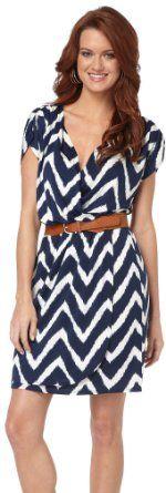 Amazon.com: Corey P. Navy Chevron Print Belted Dress: Clothing