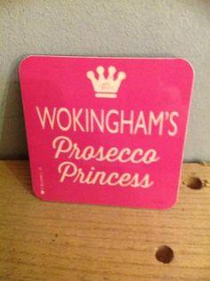 Wokingham Coaster: Wokinghams Prosecco Princess Pink w White