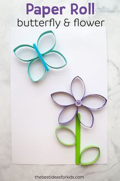 This paper roll butterfly and flower craft is perfect for Spring or Summer! Kids will love making their own butterflies and flowers out of toilet paper rolls. Paper Roll Crafts, Paper Roll Crafts for Kids, Spring Crafts, Summer Crafts, Toilet paper roll crafts, Toilet Paper Roll Crafts for Kids. #summercraft #springcraft #flowercraft #craft #craftsforkids #kidscrafts #papercrafts via @bestideaskids