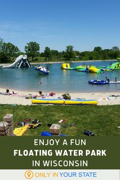 Looking for a kid friendly day trip in Wisconsin that the whole family can enjoy? Head to this floating water park and obstacle course in Fond du Lac. It has slides, ziplines, and more! Beautiful Places In America, Best Bucket List, Floating Water, Sport Park, Hidden Beach, Obstacle Course, Local Attractions, Swimming Holes, Future Travel
