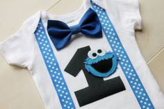 Cookie Monster verjaardag Outfit Cake Smash door CrestlineCreatives
