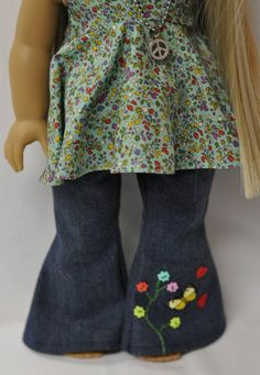 18 inch doll clothes 1970's bell bottom jeans halter top