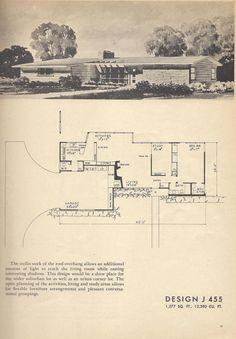 Vintage House Plans, Mid Century House Plans DESIGN J 455