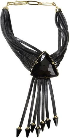 Giorgio Armani - Black Necklace.  Contrasting applications, clasp closure. Polyester, calf-skin leather, crystal, brass.