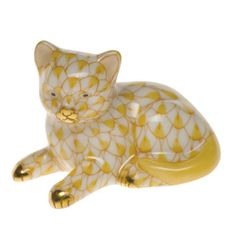 Herend Mini Kitten Butterscotch Fishnet, mini, $175