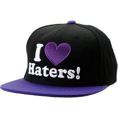 9c139ea1312 DGK I Love Haters Black   Purple Snapback Hat Cute Hats