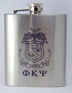 Phi Kappa Psi Laser Engraved Crest Brushed Silver 8 oz. Stainless Steel Flask