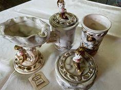Vintage MERMAID Pearls Vanity Bath Set Cup soap dish POWDER Puff trinket box