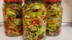 Pregătiți această conservă care neapărat vă va bucura iarna. Salata este delicioasă, se prepară și se măncâncă rapid! INGREDIENTE (PENTRU 3 BORCANE DE 1L): -1,2 kg de gogonele; -3-4 ardei grași; -2-3 cepe; -1 căpățână de usturoi; -1 ardei iute; -mărar, pătrunjel, coriandru, busuioc; -5 linguri cu vârf de zahăr; -3 linguri cu vârf de sare; -100 ml de oțet 9%; -1200 ml de apă. MOD DE PREPARARE: 1.Îndepărtați cotorul gogonelelor, apoi le tăiați jumătăți, după care felii. 2.Tăiați ceapa jumătăți sub Pickles, Fresh Rolls, Cucumber, Zucchini, Food And Drink, Vegetables, Canning, Ethnic Recipes, Fried Green Tomatoes