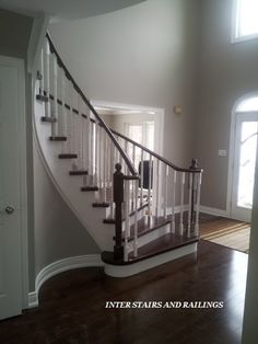 Dark stair treads and contrasting white risers. Stair Treads, Can Design, Contrast, Stairs, Dark, House, Home Decor, Ladders, Homemade Home Decor
