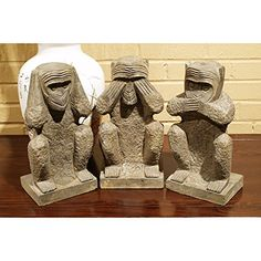 China Furniture Online Three Wise Monkeys Decorative Sculpture Set of 3 Hand Carved Stone Statues Gray -- Details can be found by clicking on the image. Note: It's an affiliate link to Amazon.