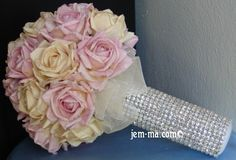 "Over 650 Clear Swarovski Crystal. 6.5"" - 7"" Standard Size Paper Rose Bouquet    weddingbouquets.net"