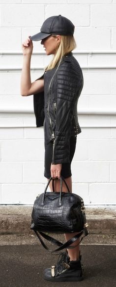 Street style for fall - black leather